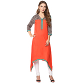 Anuswara Orange Color Rayon Plain A Line Style Kurti With Legging Set