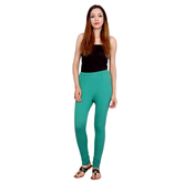 Anuswara Green Color Cotton Full-length Readymade Churidar Legging