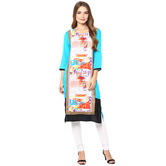 Anuswara Blue Color Rayon Printed Straight Kurti With Legging Set