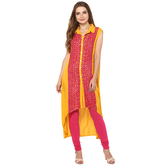 Anuswara Yellow Color Rayon Printed A Line Style Kurti With Legging Set