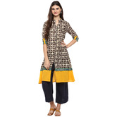 Anuswara Brown Color Cotton Printed A Line Style Kurti With Palazzo Set