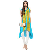 Anuswara Blue Color Rayon Printed A Line Style Kurti With Legging Set