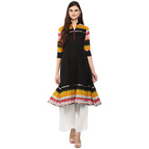 Anuswara Black Color Cotton Plain Anarkali Kurti With Palazzo Set