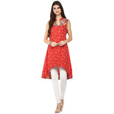 Anuswara Red Color Cotton Printed A Line Style Kurti With Legging Set