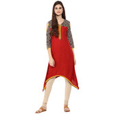 Anuswara Red Color Rayon Plain A Line Style Kurti With Legging Set