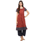 Anuswara Red Color Cotton Printed A Line Style Kurti With Palazzo Set