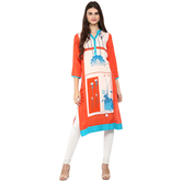 Anuswara Orange Color Rayon Printed Knee Length Straight Kurti