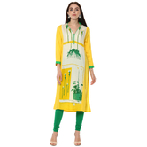 Anuswara Yellow Color Rayon Printed Knee Length Straight Kurti