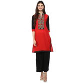 Anuswara Red Color Cotton Embroidered Knee Length Straight Kurti