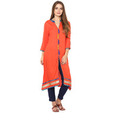 Craftsvilla Orange Color Solid Rayon Kurta With Cotton Slub Pant