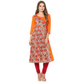 Craftsvilla Orange Color Printed Cotton Kurta With Legging Set