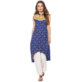 Anuswara Blue Color Cotton Printed A Line Style Kurti With Palazzo Set