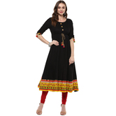 Anuswara Black Color Rayon Plain Anarkali Kurti With Legging Set