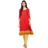 Anuswara Red Color Rayon Plain Anarkali Kurti With Legging Set