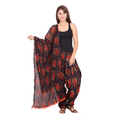 Anuswara Red And Black Color Printed Cotton Full-length Readymade Straight Patiala