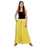 Anuswara Yellow Color Viscose Straight Full-length Readymade Palazzo