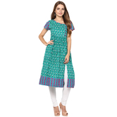 Anuswara Green Color Cotton Printed A Line Style Kurti With Legging Set