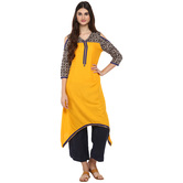 Anuswara Yellow Color Rayon Plain A Line Style Kurti With Palazzo Set