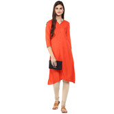 Craftsvilla Orange Color Solid Rayon Kurta With Legging Set