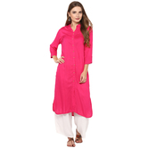 Anuswara Pink Color Rayon Plain Straight Kurti With Palazzo Set