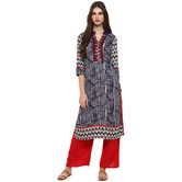 Craftsvilla Blue Color Printed Cotton Kurta With Palazzo Set