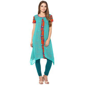 Craftsvilla Green Color Printed Cotton Kurta With Legging Set