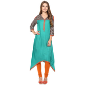 Anuswara Green Color Rayon Plain A Line Style Kurti With Legging Set