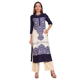 Anuswara White And Blue Color Floral Print 3/4 Sleeve  Rayon Kurti