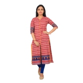 Anuswara Abstract Print Red & Blue Color Front Slit Open Long Kurta