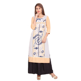 Anuswara Printed White And Beige Color 3/4 Sleeve Long Rayon Kurta