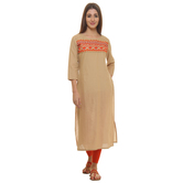 Anuswara Beige Color Embroidered Cotton Knee Length Straight Kurti