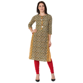 Anuswara Green And Mustard Color Cotton Printed Straight Kurti