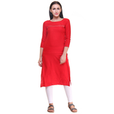 Anuswara Red Color Embroidered Rayon Knee Length Straight Kurti