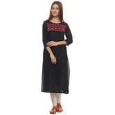 Anuswara Blue Color Embroidered Cotton Knee Length Straight Kurti