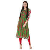 Anuswara Green Color Cotton Printed 3/4 Th Sleeve Straight Kurti