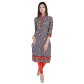 Anuswara Blue Color Printed Cotton Knee Length Straight Kurti