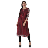 Anuswara Red Color Cotton Printed 3/4 Th Sleeve Straight Kurti