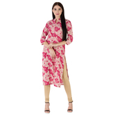 Anuswara Pink Color Cotton Printed 3/4 Th Sleeve Straight Kurti