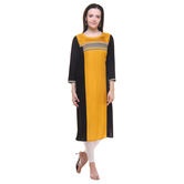 Anuswara Mustard Color Printed Rayon Knee Length Straight Kurti