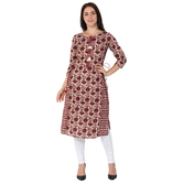 Anuswara Pink Color Cotton Printed Straight Kurti
