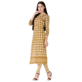 Anuswara Mustard Color Cotton Printed 3/4 Th Sleeve Straight Kurti