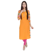 Anuswara Yellow Color Printed Cotton Knee Length Straight Kurti