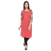 Anuswara Pink Color Printed Cotton Knee Length Straight Kurti