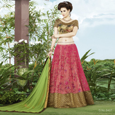 Craftsvilla Pink Color Net Embroidered Semi-stitched Lehenga Choli