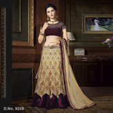 Craftsvilla Gold Color Net Embroidered Semi-stitched Lehenga Choli