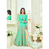 Craftsvilla Green Color Bangalore Silk Embroidered Semi-stitched Traditional Anarkali Suit