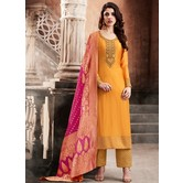 Craftsvilla Yellow Color Silk Embroidered Semi-stitched Straight Suit