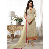 Craftsvilla Cream Color Georgette Embroidered Semi-stitched Straight Suit