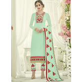 Craftsvilla Green Color Georgette Embroidered Semi-stitched Straight Suit