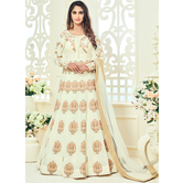 Craftsvilla Yellow Color Georgette Embroidered Semi-stitched Traditional Anarkali Suit